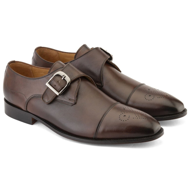 Dark Brown Single Monk Strap With Captoe