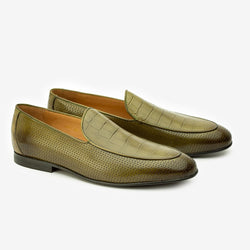 Green Perforated Loafers With Croco Detail