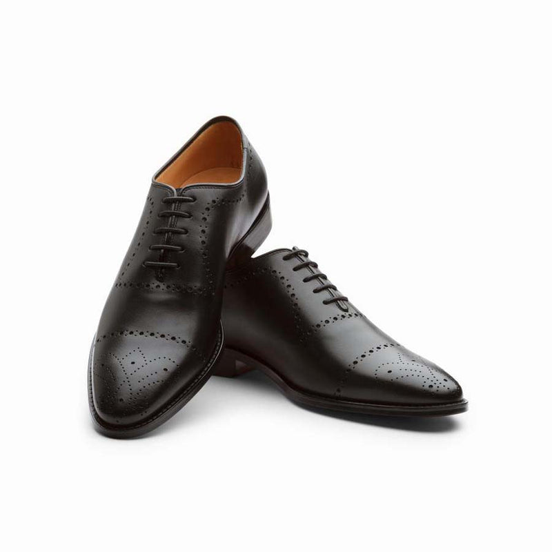 Black Medallion Punched Oxfords