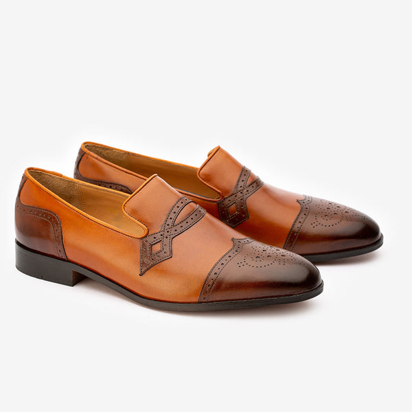 Tan + Brown Dual Tone Decorated Loafers