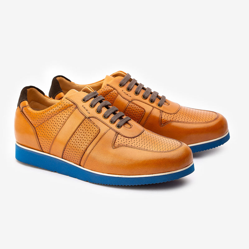 Tan Classic Sneaker with Blue sole