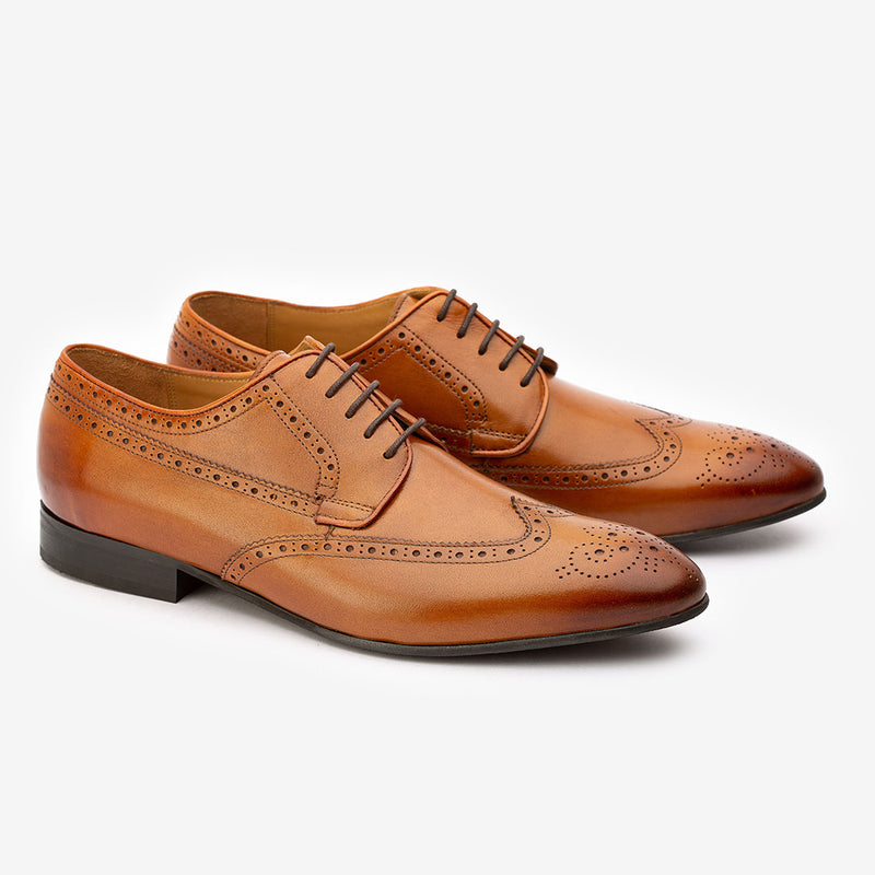 Tan Longwing Derby Wingtips
