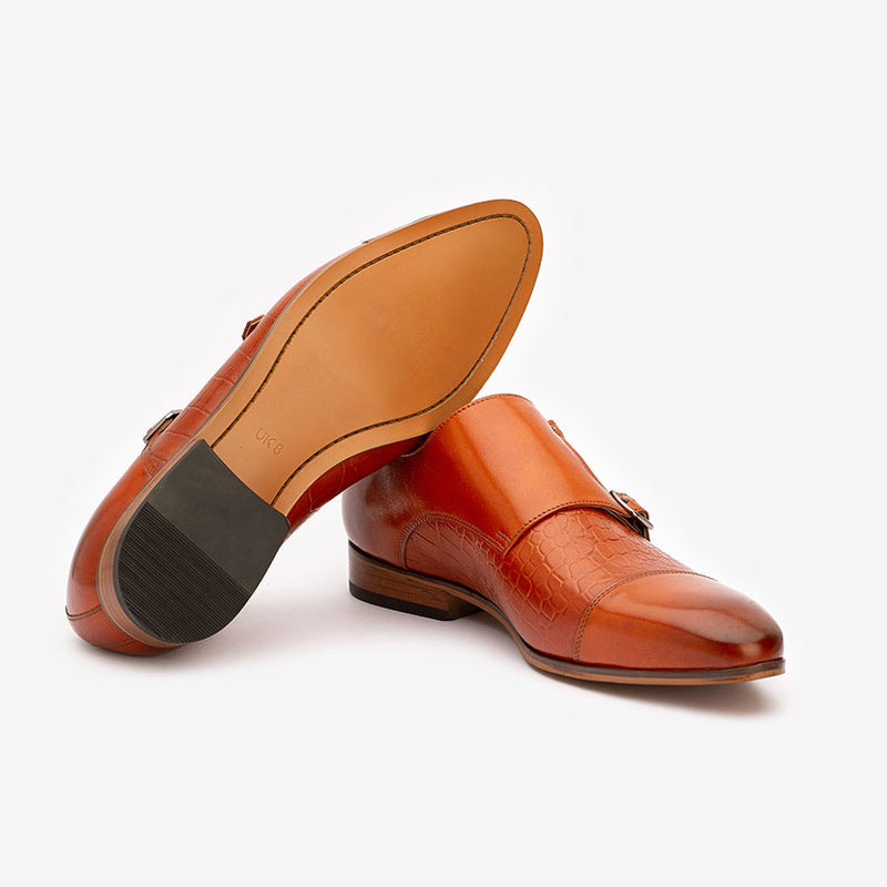 Tan Croco Monk Straps