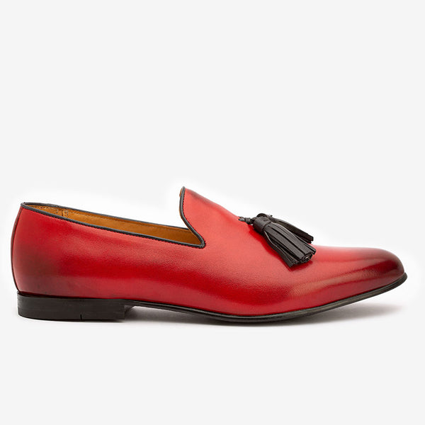 Red Loafers with Black Tassels