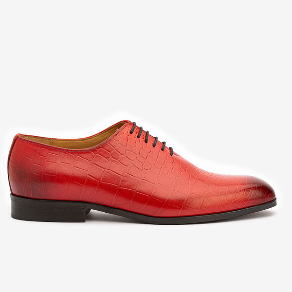 Red Croco Wholecut Oxfords