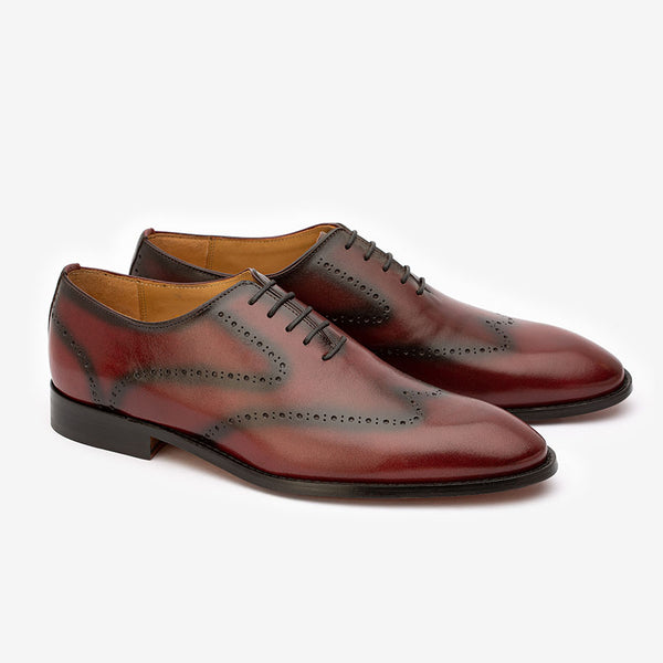 Burgundy Patina Punched Wholecut Oxfords