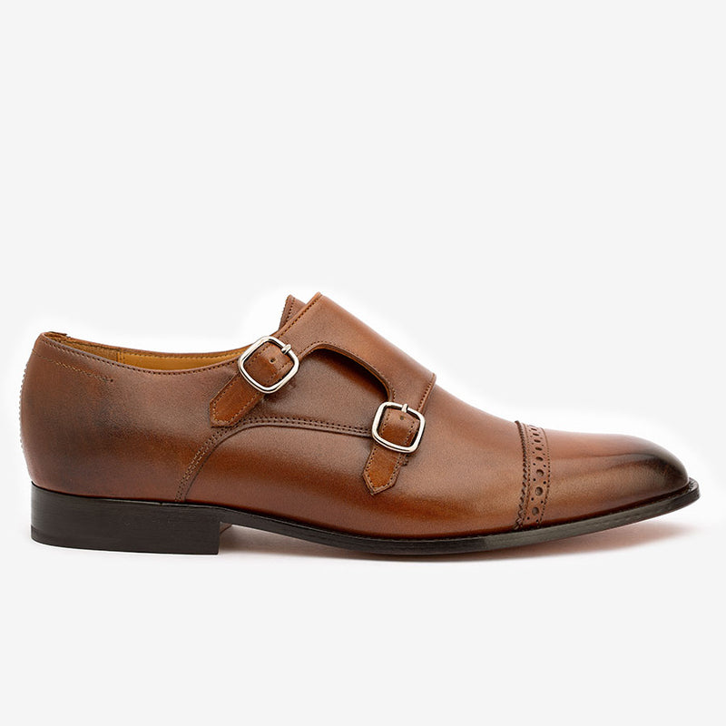 Brown Double Buckle Monk Straps
