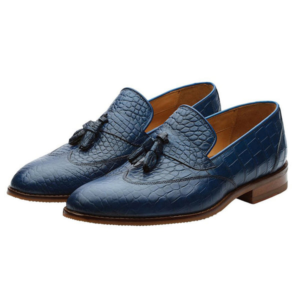 Blue Croco Wingcap Tassel Loafers