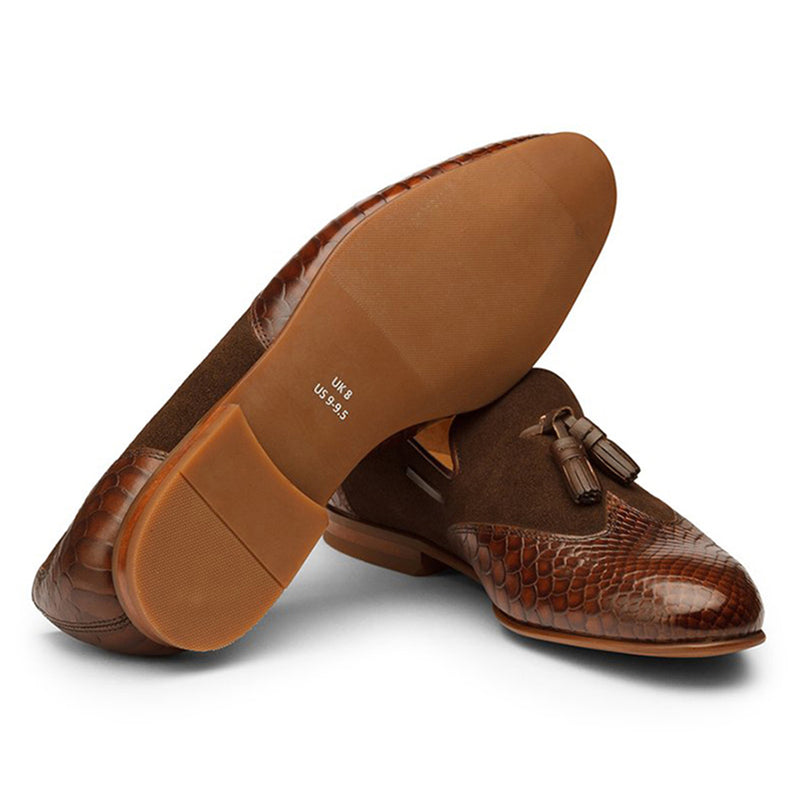 Brown Croco Suede Tassel Loafer