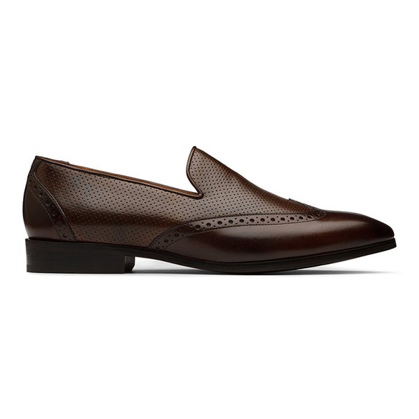 Brown Perforated Wingcap Loafers