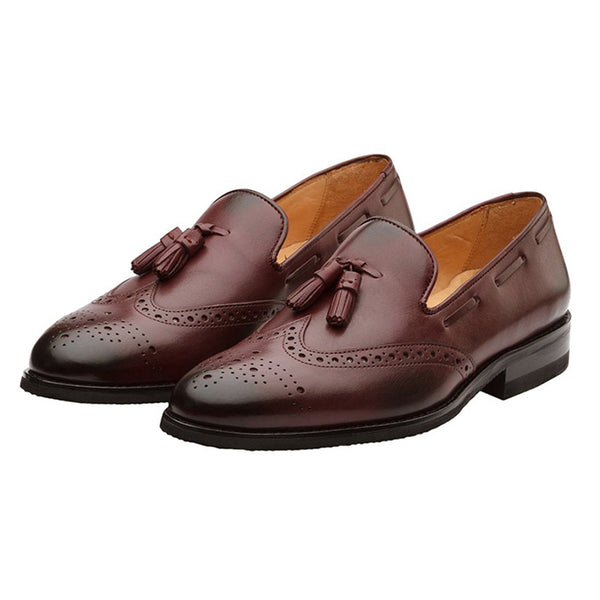 Burgundy Tassel Wingcap Loafer