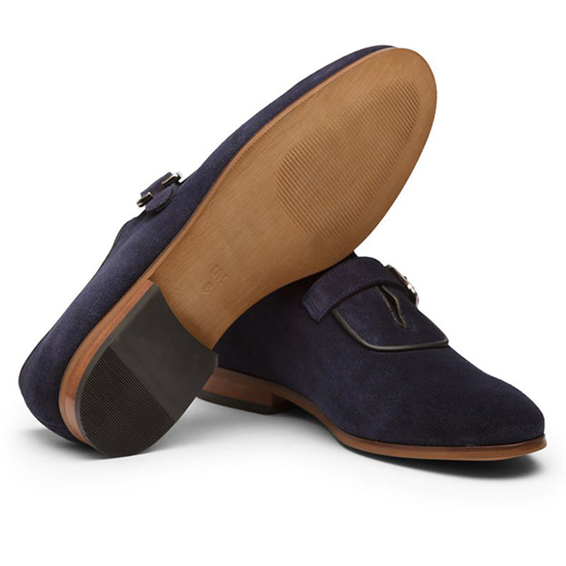 Navy Suede Single Strap Monks