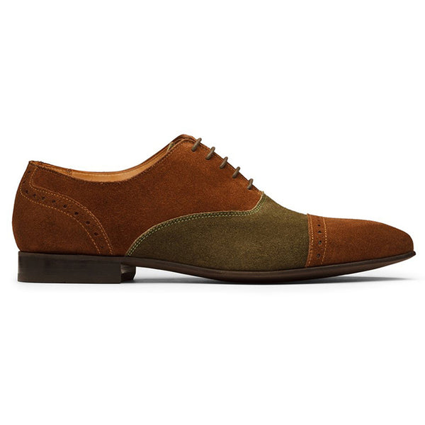 Olive + Tan Suede Dual Tone Captoe Oxfords
