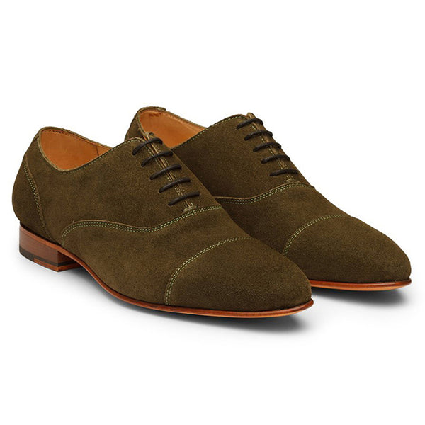 Olive Suede Toecap Oxfords