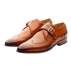 Tan Single Monkstrap with Wingcap