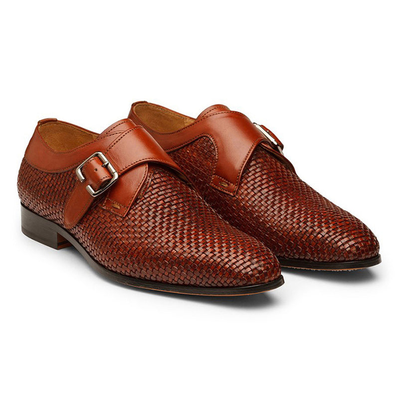 Tan Single Strap Woven Monk Straps