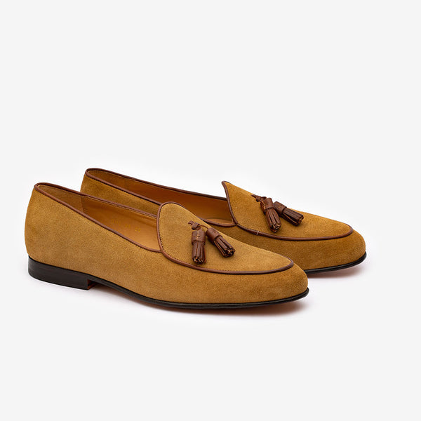 Tan Suede Belgian Loafer with Brown Tassels