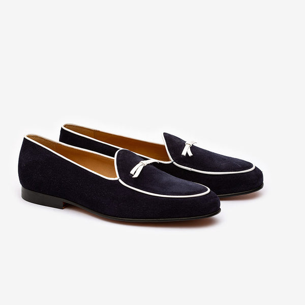Navy Velvet + Bowtie loafers