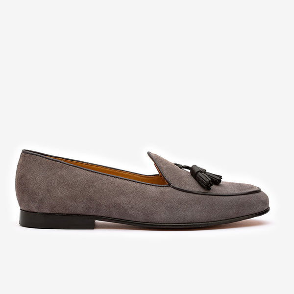Grey Suede Belgian Loafers with Black Tassels