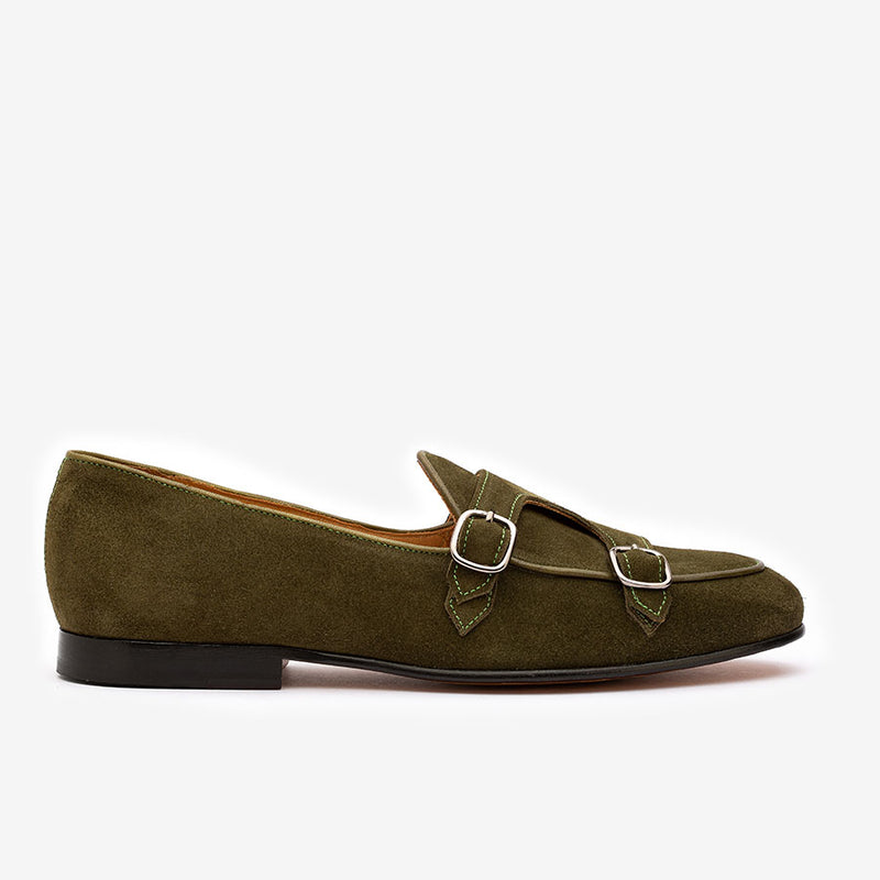 Green Suede Batwing Slipons