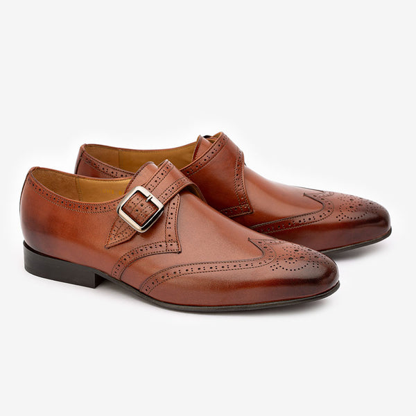 Cognac Wingtip Decorated Single Monk