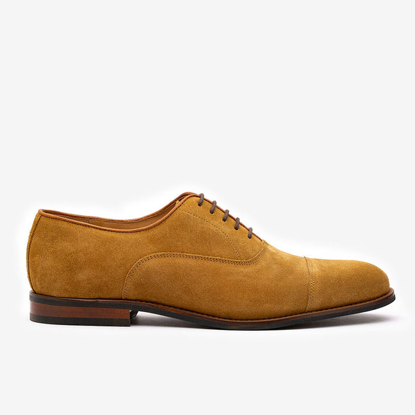 Camel Suede Captoe Oxfords