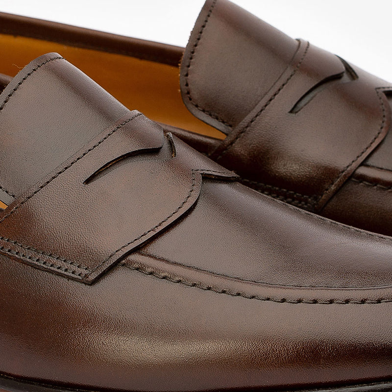 Brown Penny Loafers with Cordstitch