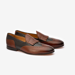 Brown Dual Tone Fringe Loafers