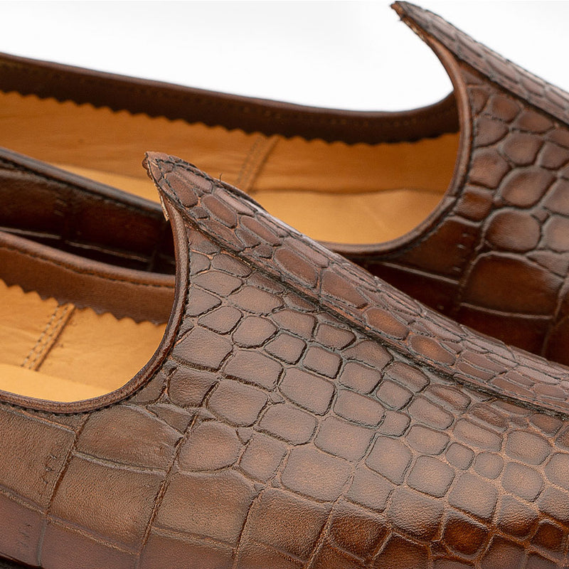 Brown Croco Mojaris