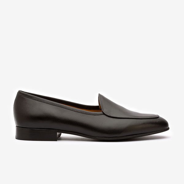Black Plain Camp Belgian Loafers