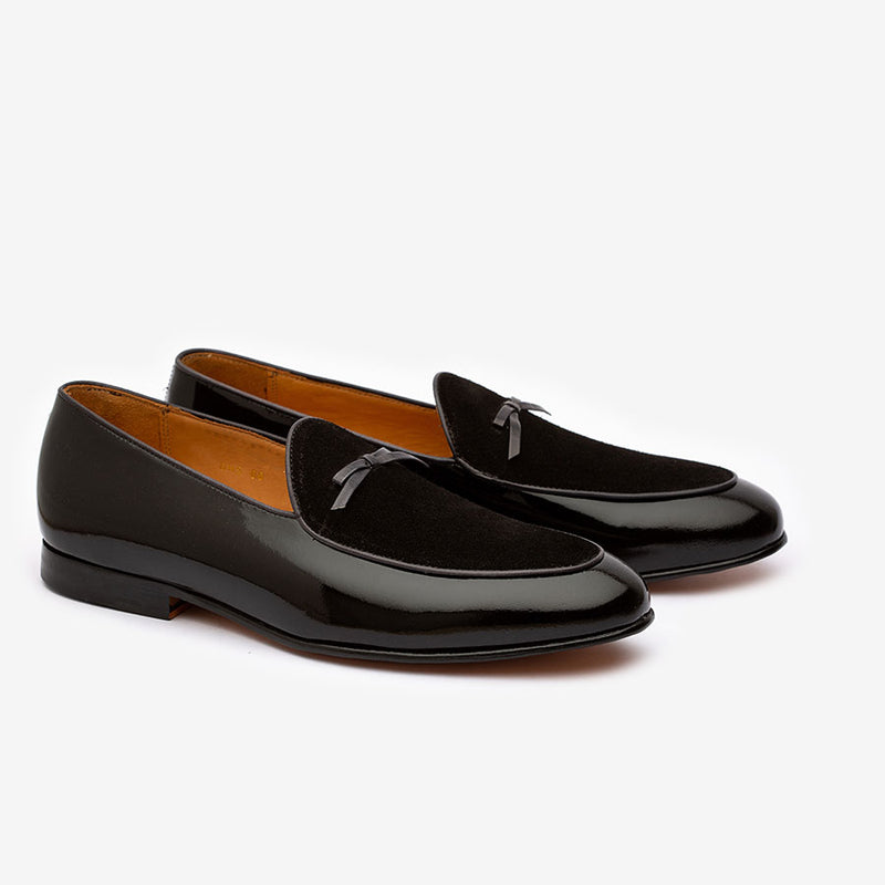 Black Patent Bowtie Loafers with Velvet Vamp