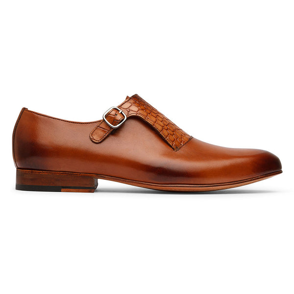 Tan Single Strap Croco Monk Straps