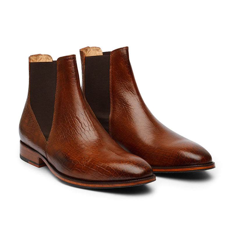 Tan Croco Sharp Chelsea Boots