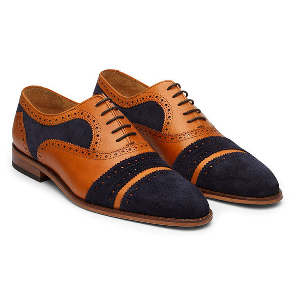 Tan + Navy Suede Gladiator Oxfords