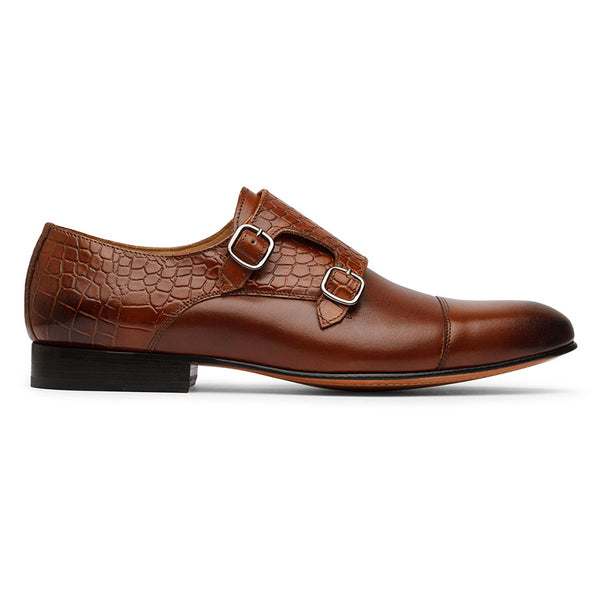 Cognac Semi Croco Monkstraps