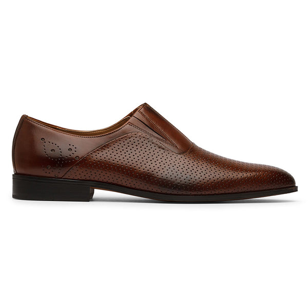 Brown Perforated Elastic Loafers