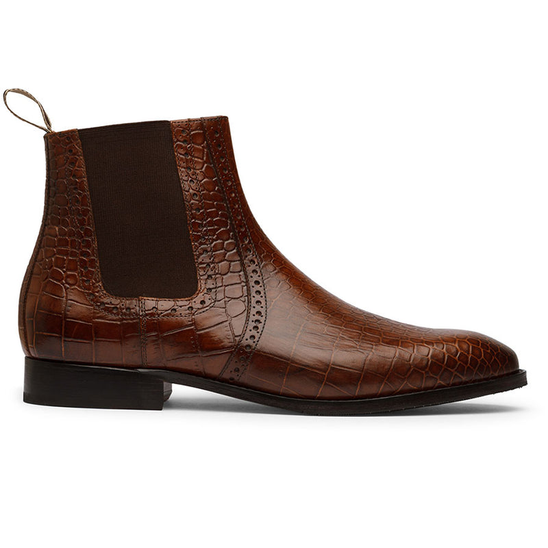 Brown Detailed Croco Chelsea Boot
