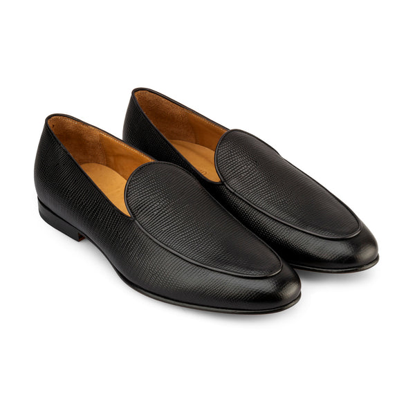Black Lizard Print Belgian Loafers