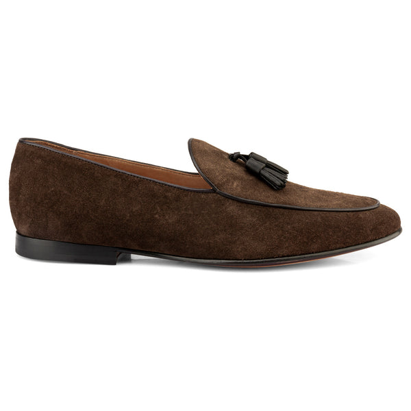 Brown Suede Tassel Belgian Loafers