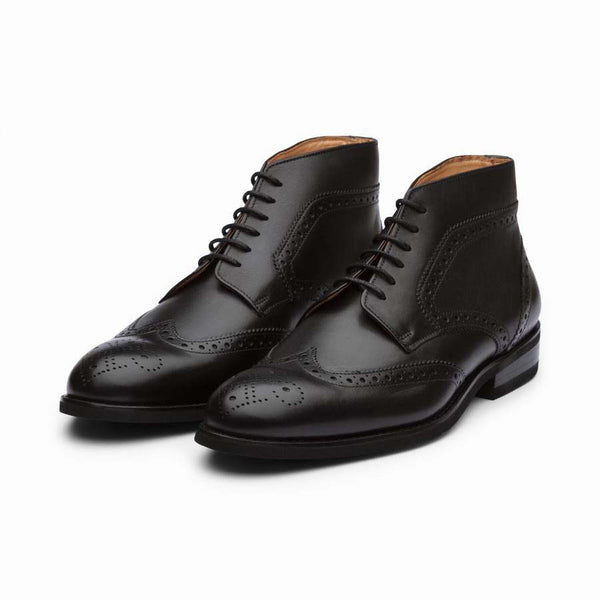 Black Brogue Derby Boots
