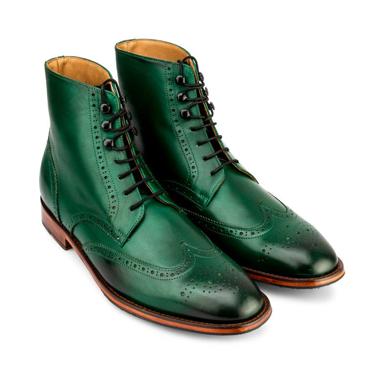 Green Wingtip Boots