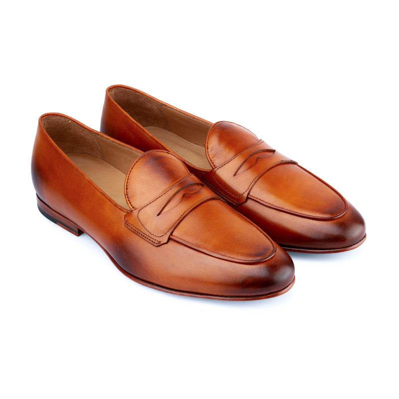 Tan Penny Belgian Loafers