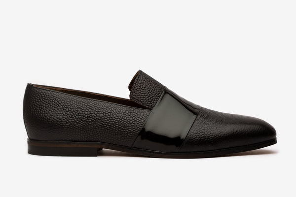 Black Pebble Grain Slipon With Metallic Strap