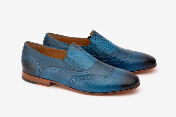 Blue Python Print Loafers