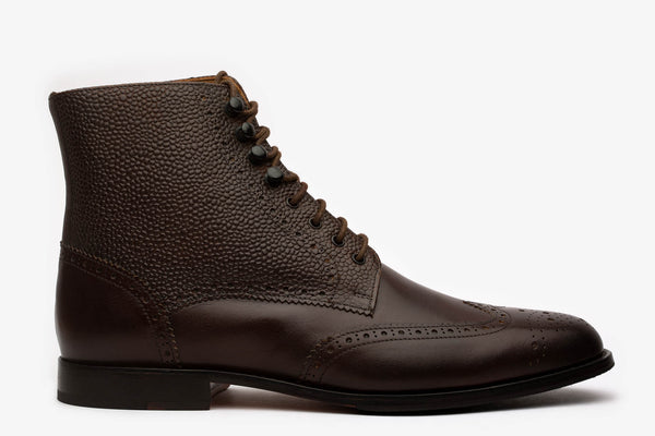 Brown Derby Boot With Grain Detail