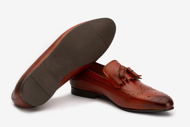 Brown French Tassel Loafers With Wing Tip