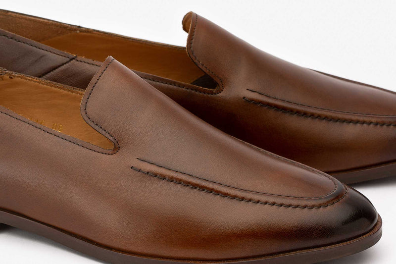 Brown Slipons With Cordstitch Detail
