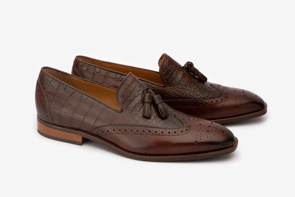 Brown Tassel Crocodile Loafers
