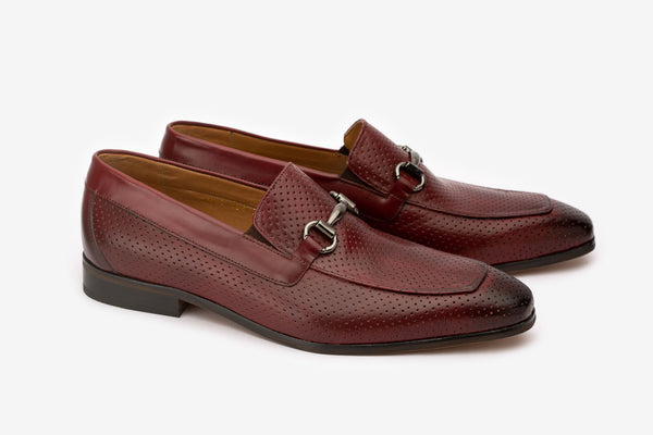 Burgundy Perforated Buckle Loafers
