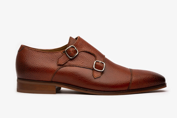 Cogniac Pebble Grain Monk Straps